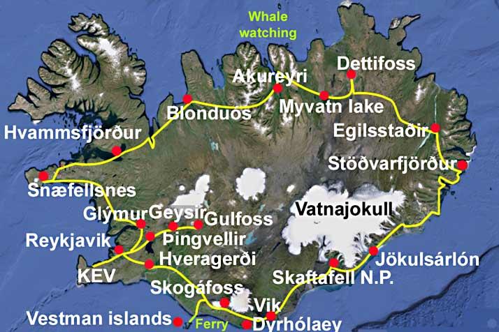 Islandia hotel 11 días mapa