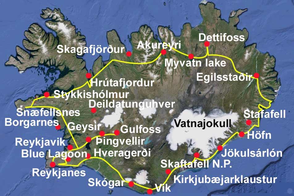 Resultado de imagen para mapa islandia turistico