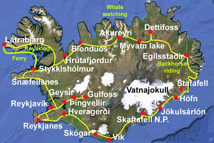 Mapa viaje Vuelta a Islandia