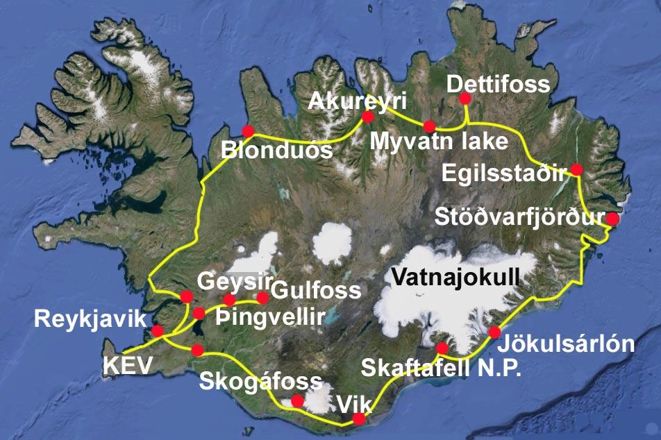 mapa de tours en Islandia